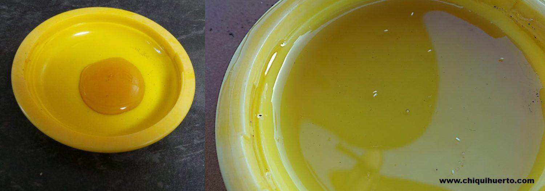 Colocamos miel en el platillo, lo extendemos con una cuchara, y ya tenemos nuestra trampa preparada